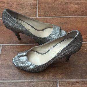 Enzo Angiolini sparkly peep toe heels